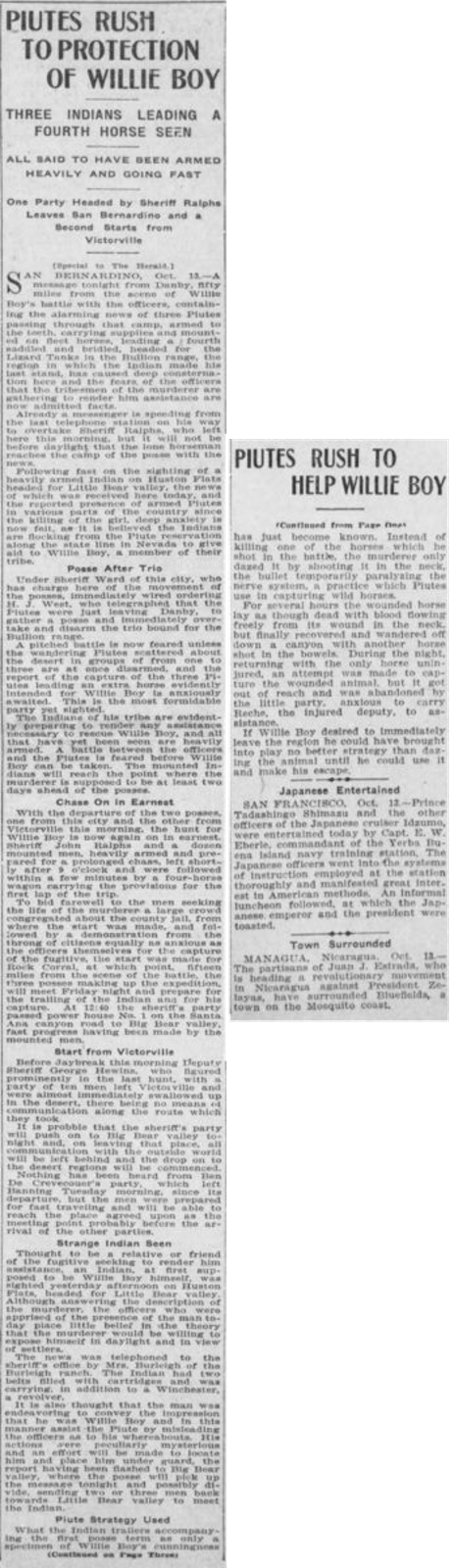 Oct. 14, 1909 - Los Angeles Herald article clipping