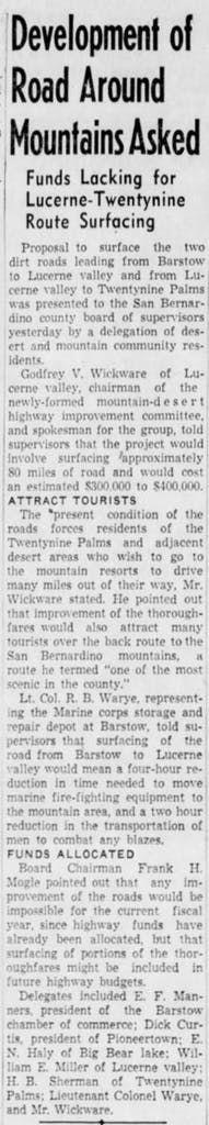 Oct. 15, 1947 - The San Bernardino County Sun article clipping