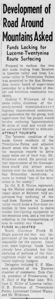 Oct. 15, 1947 - The San Bernardino County Sun article clipping