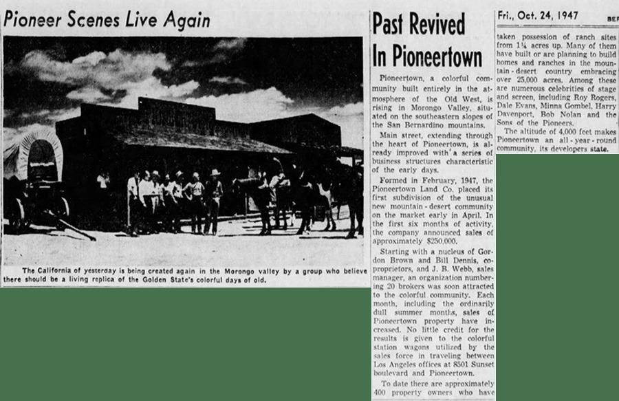 Oct. 24, 1947 - The San Bernardino County Sun article clipping