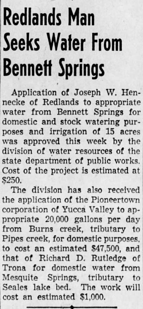 July 11, 1948 - Redlands man seeks water article clipping