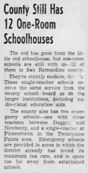 One-room schoolhouse article clipping