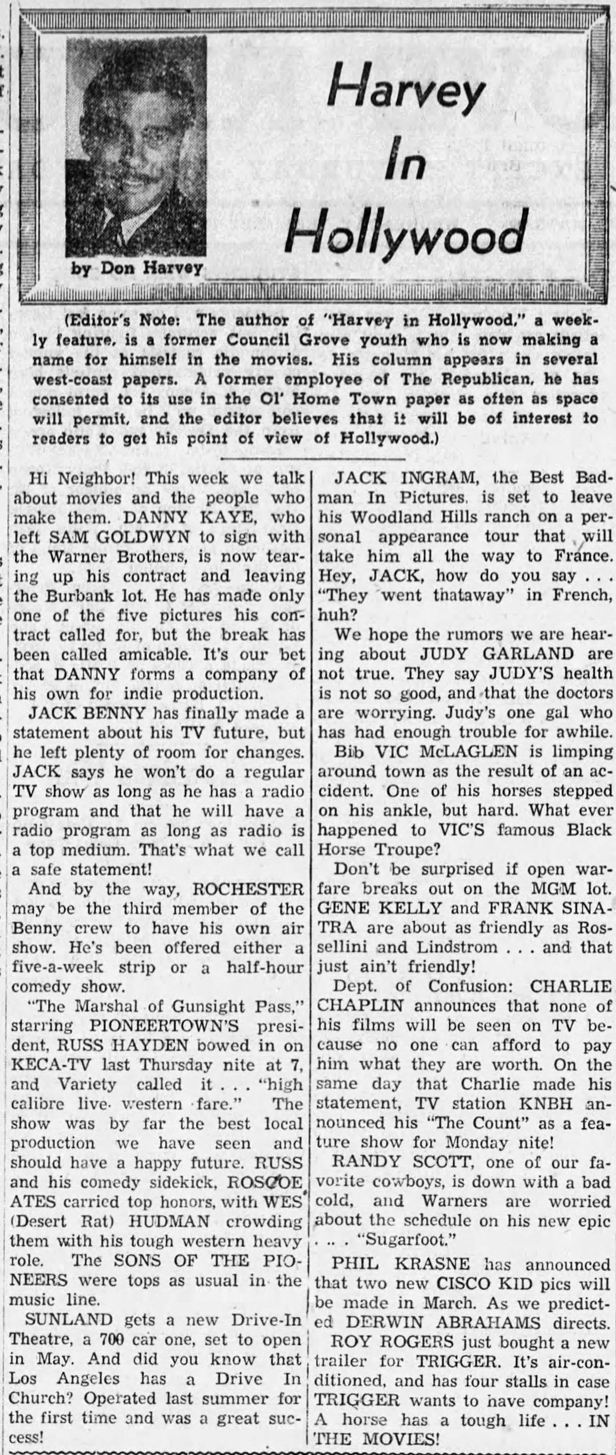 Harvey in Hollywood Feb. 22, 1950 article clipping