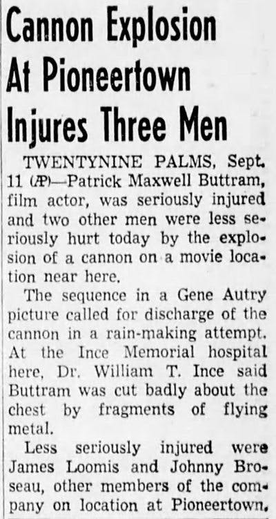 Sept. 12, 1950 - Cannon Explodes article clipping