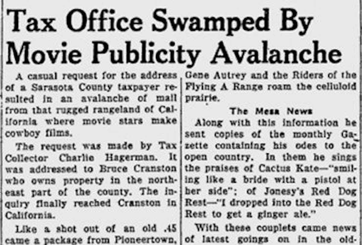 Dec. 1, 1950 Sarasota Herald Tribune article clipping