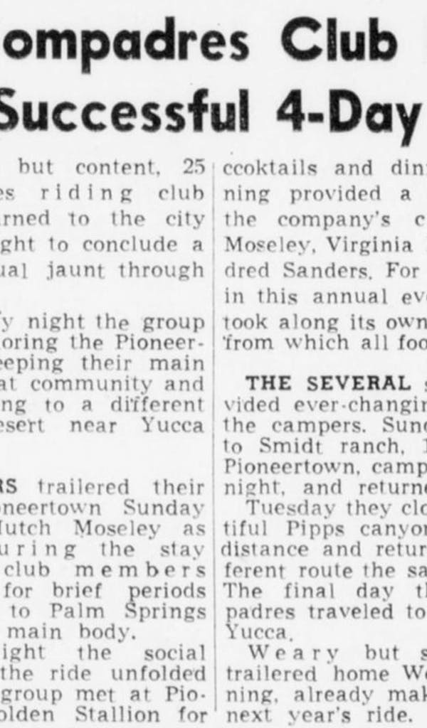 May 25, 1951 - The Desert Sun article clipping