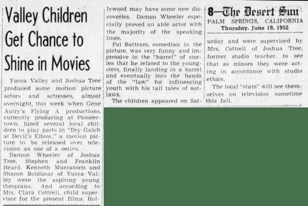 June 19, 1952 - The Desert Sun article clipping