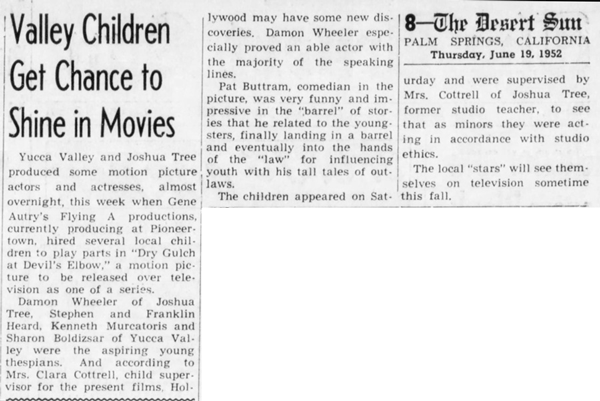 June 19, 1952 - The Desert Sun article clipping