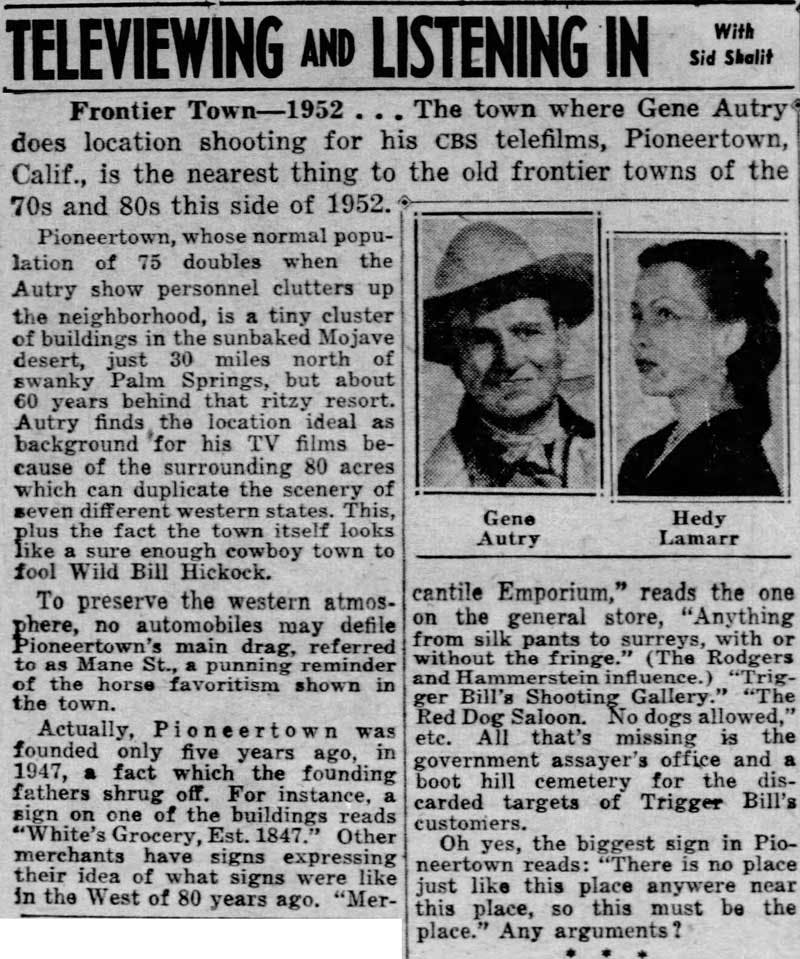Oct. 29, 1952 - Daily News clipping