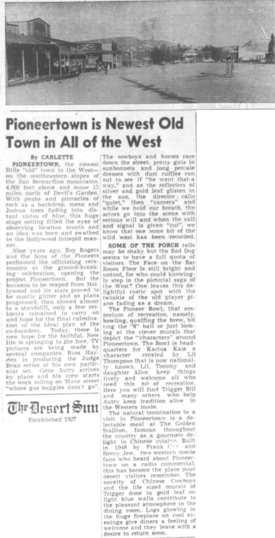 Oct. 14, 1955 - The Desert Sun article clipping