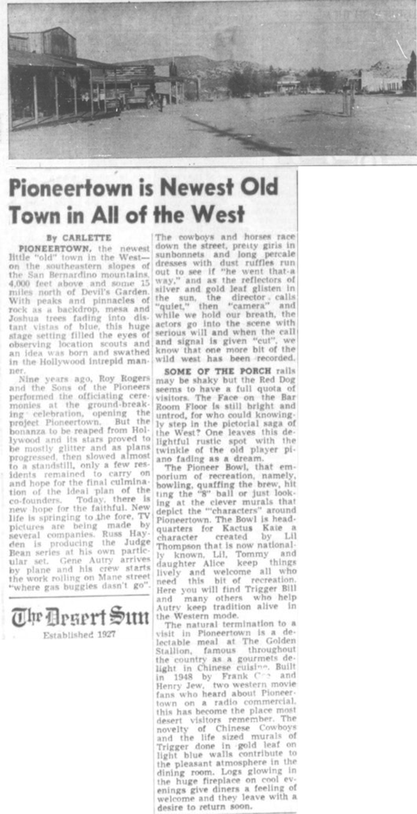 Oct. 14, 1955 - The Desert Sun article clipping