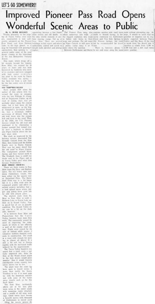 June 15, 1959 - The San Bernardino County Sun article clipping