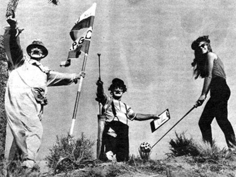 """""""Miss Pioneer Pass,"""" Debbie Mitchell with Clown Benny McWaters and Martin Bohla"""