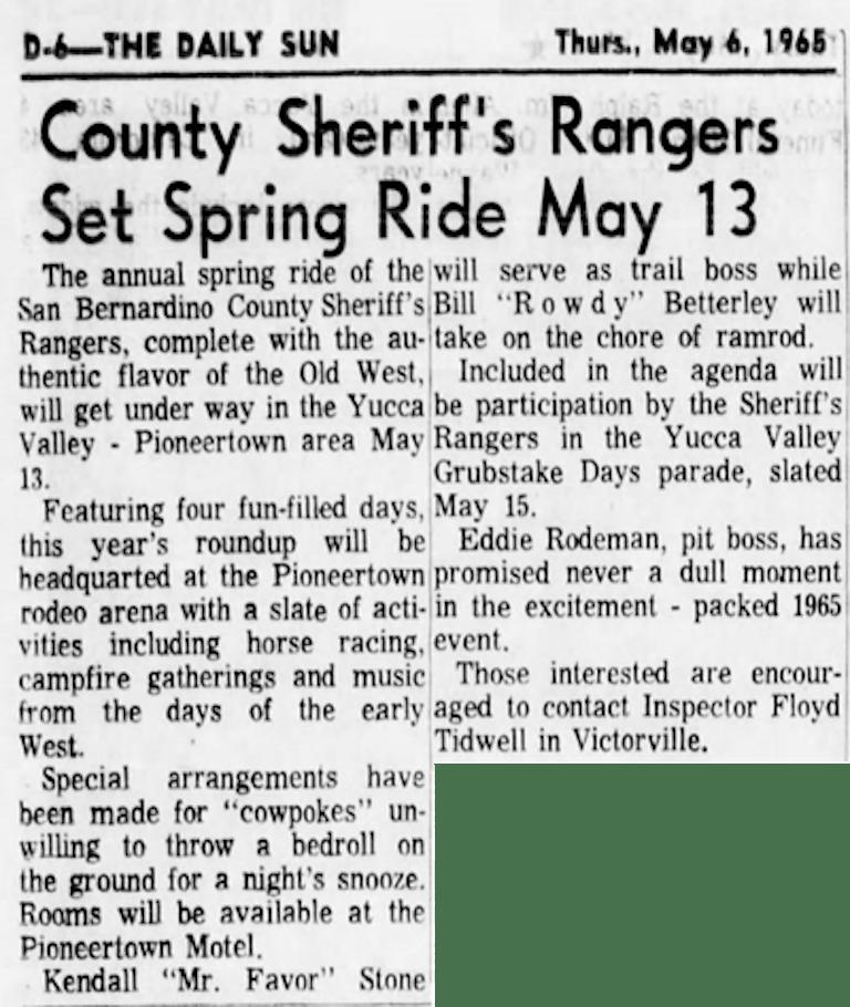 May 6 1965 - The San Bernardino County Sun article clipping