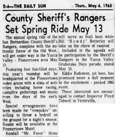 May 6 1965 - The San Bernardino County Sun article clipping