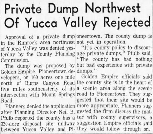 June 26, 1965 - The San Bernardino County Sun article clipping