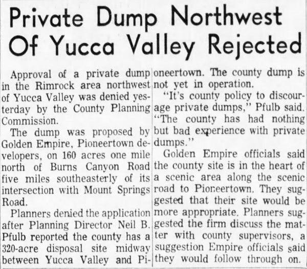 June 26, 1965 - The San Bernardino County Sun article clipping