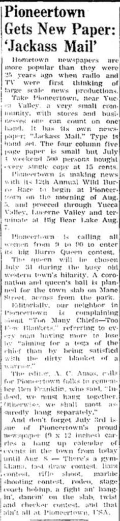July 22, 1965 - Desert Sentinel artcile clipping