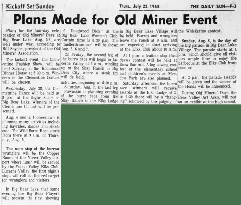 July 22, 1965 - The San Bernardino County Sun article clipping