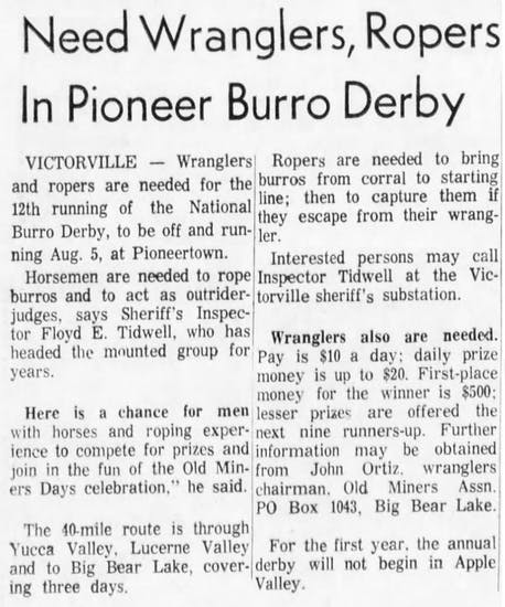 July 24, 1965 - The San Bernardino County Sun article clipping