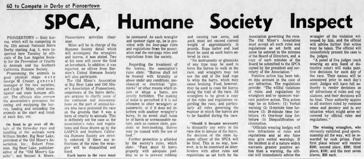 July 29, 1965 - The San Bernardino County Sun article clipping