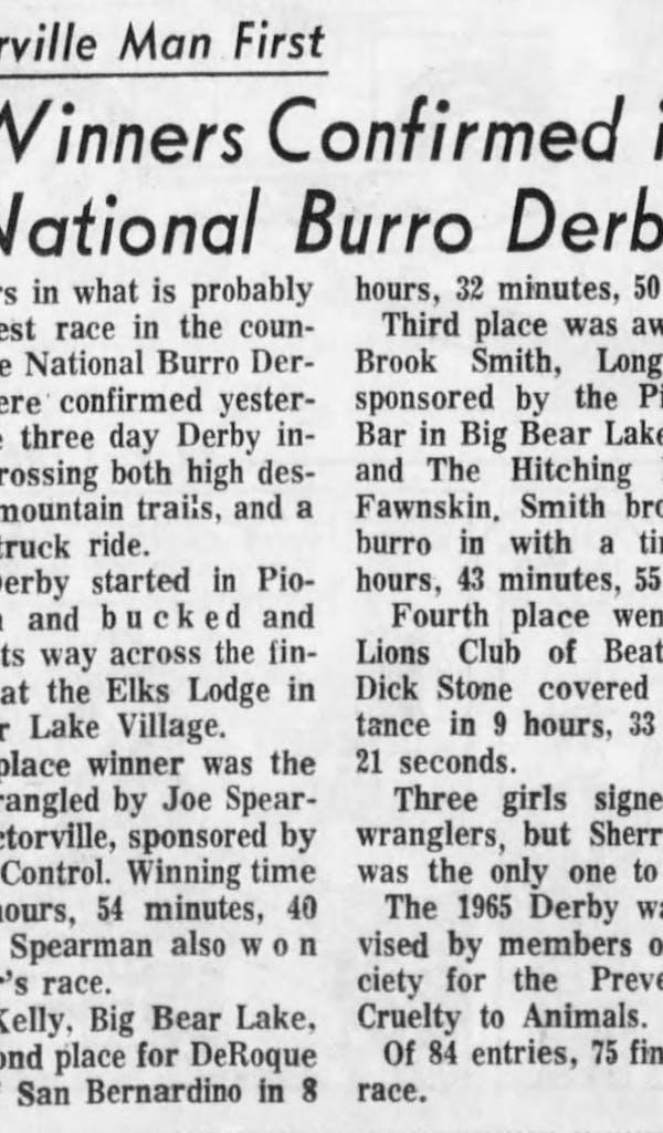 Aug. 11, 1965 - The San Bernardino County Sun article clipping