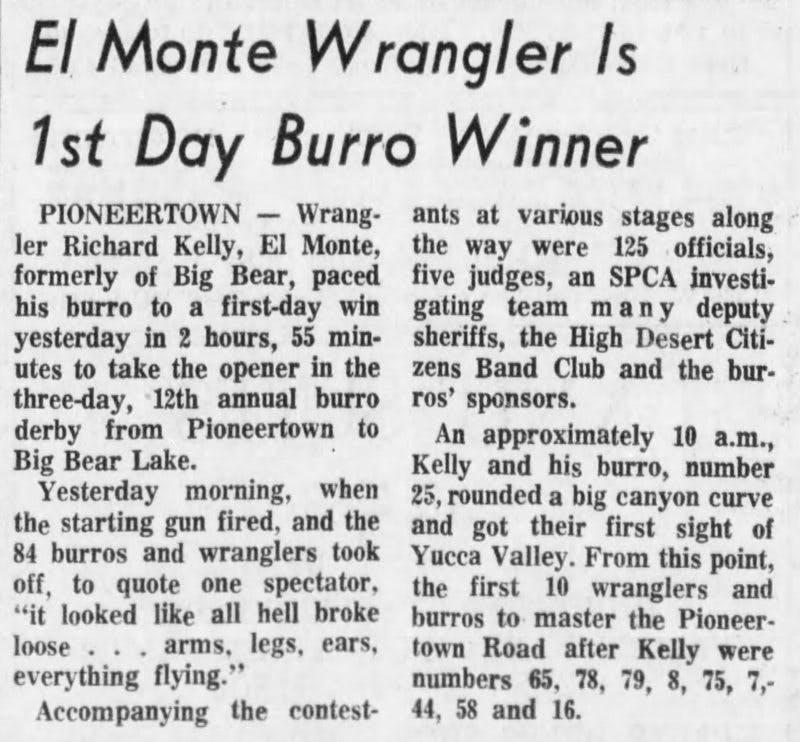Aug. 6, 1965 - The San Bernardino County Sun article clipping