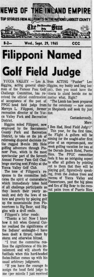 Sept. 29, 1965 - The San Bernardino County Sun article clipping