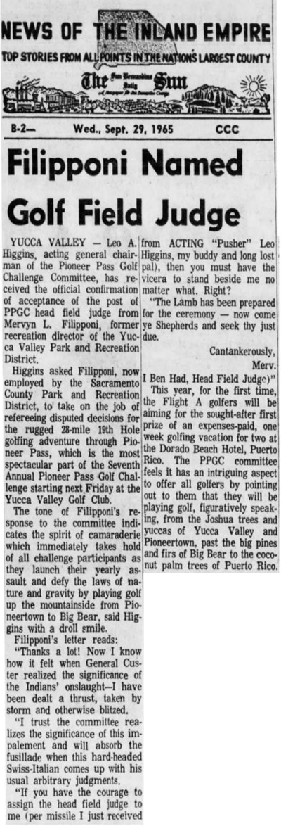 Sept. 29, 1965 - The San Bernardino County Sun article clipping