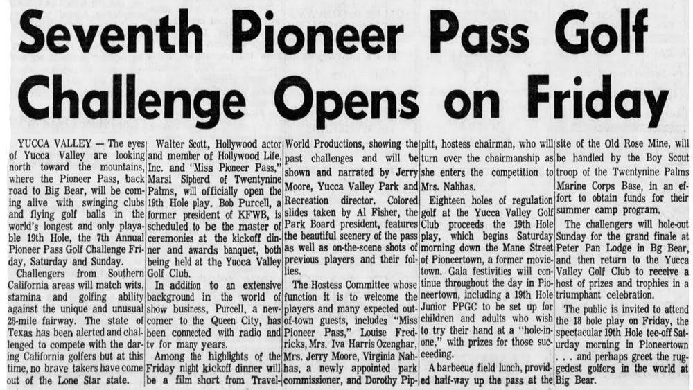 Sept. 30, 1965 - The San Bernardino County Sun article clipping