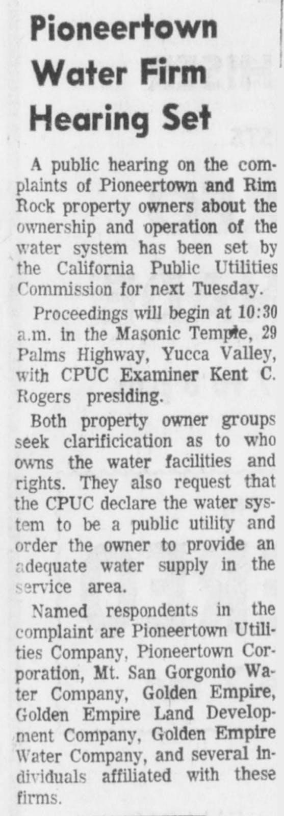Feb. 22, 1967 - The Desert Sun article clipping