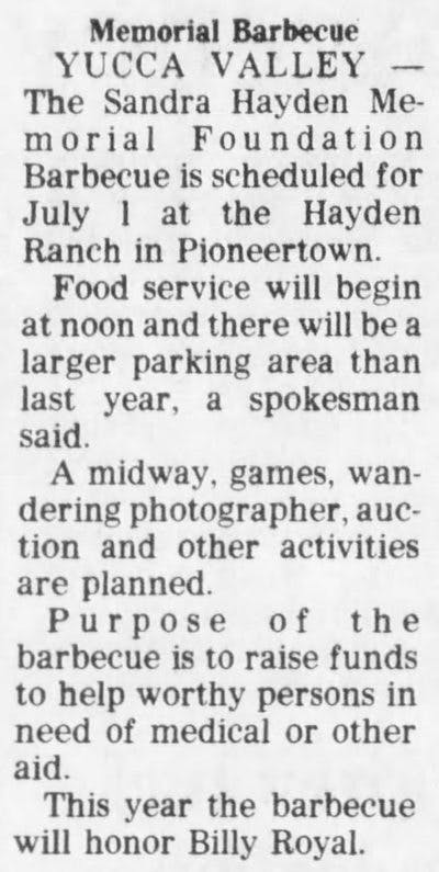 1979 Memorial barbeque article clipping