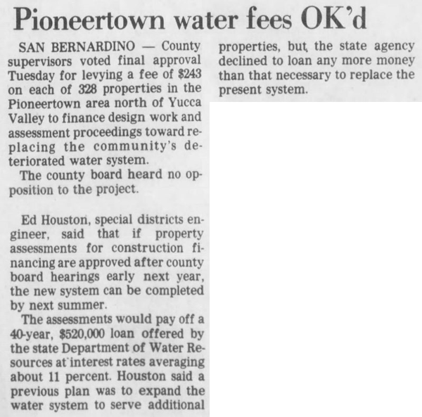 Sept. 8, 1982 water fees clipping