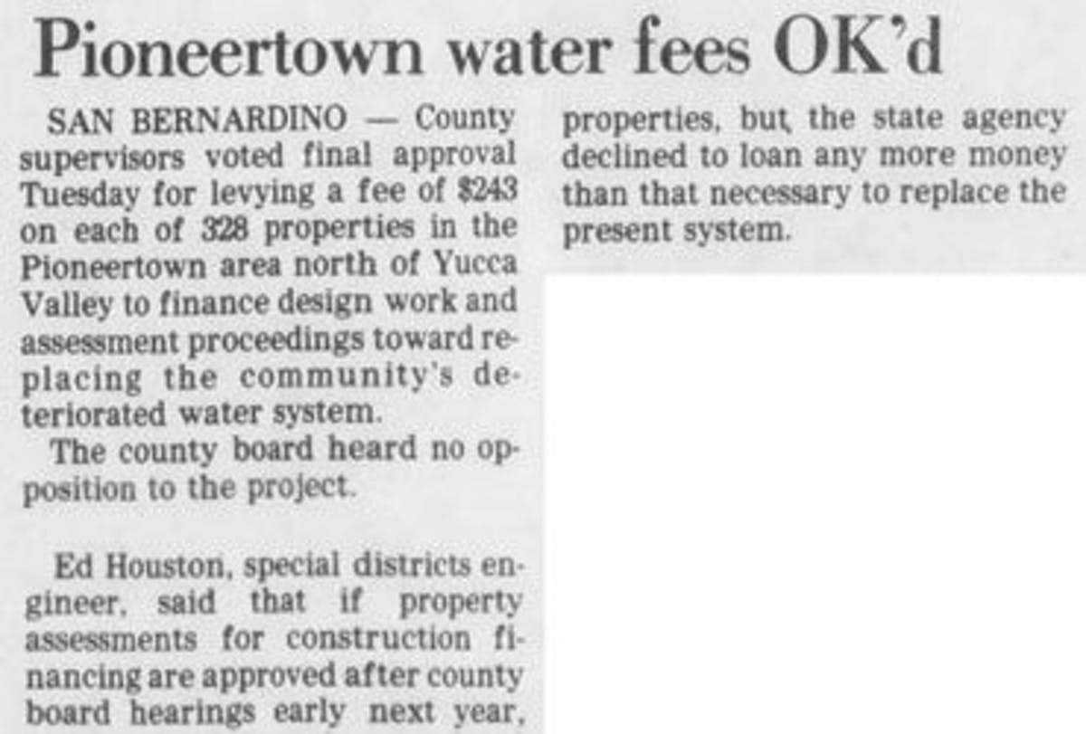 Pioneertown water fees featured image
