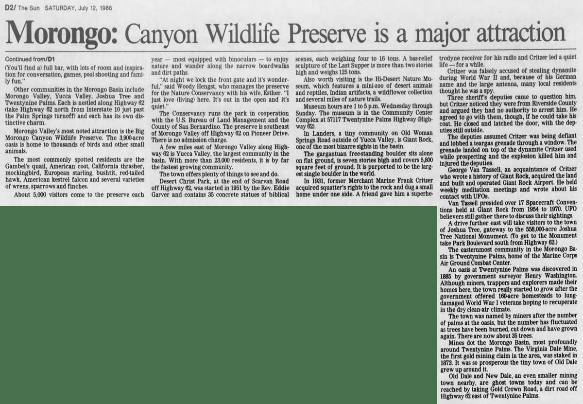 July 12, 1986 - The San Bernardino County Sun clipping
