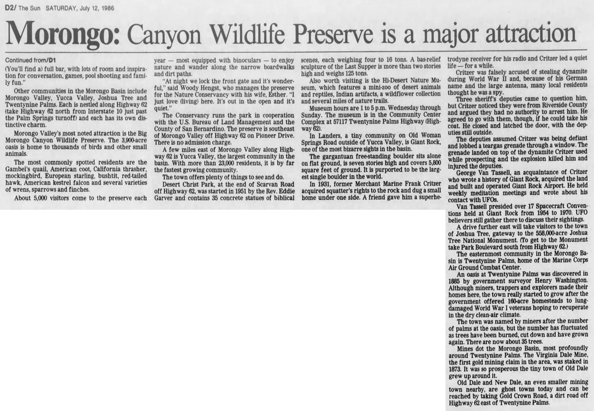 July 12, 1986 - The San Bernardino County Sun clipping