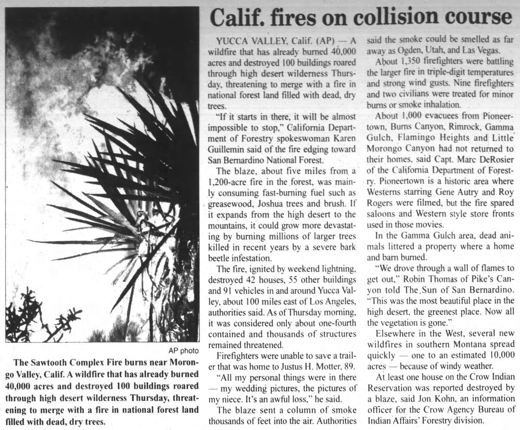 Sawtooth Camplex Fire article clipping