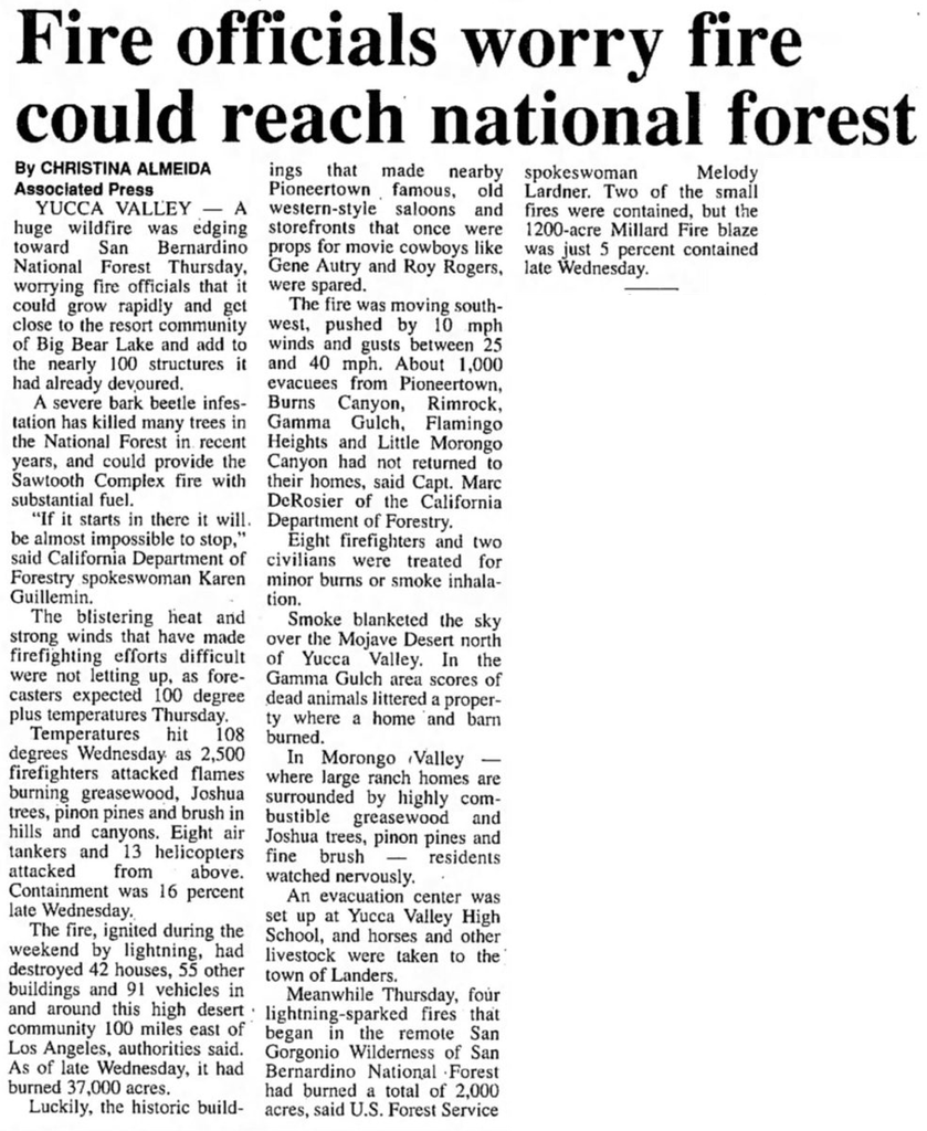 Fire near national forest - July 14, 2006 - Ukiah Daily Journal article clipping