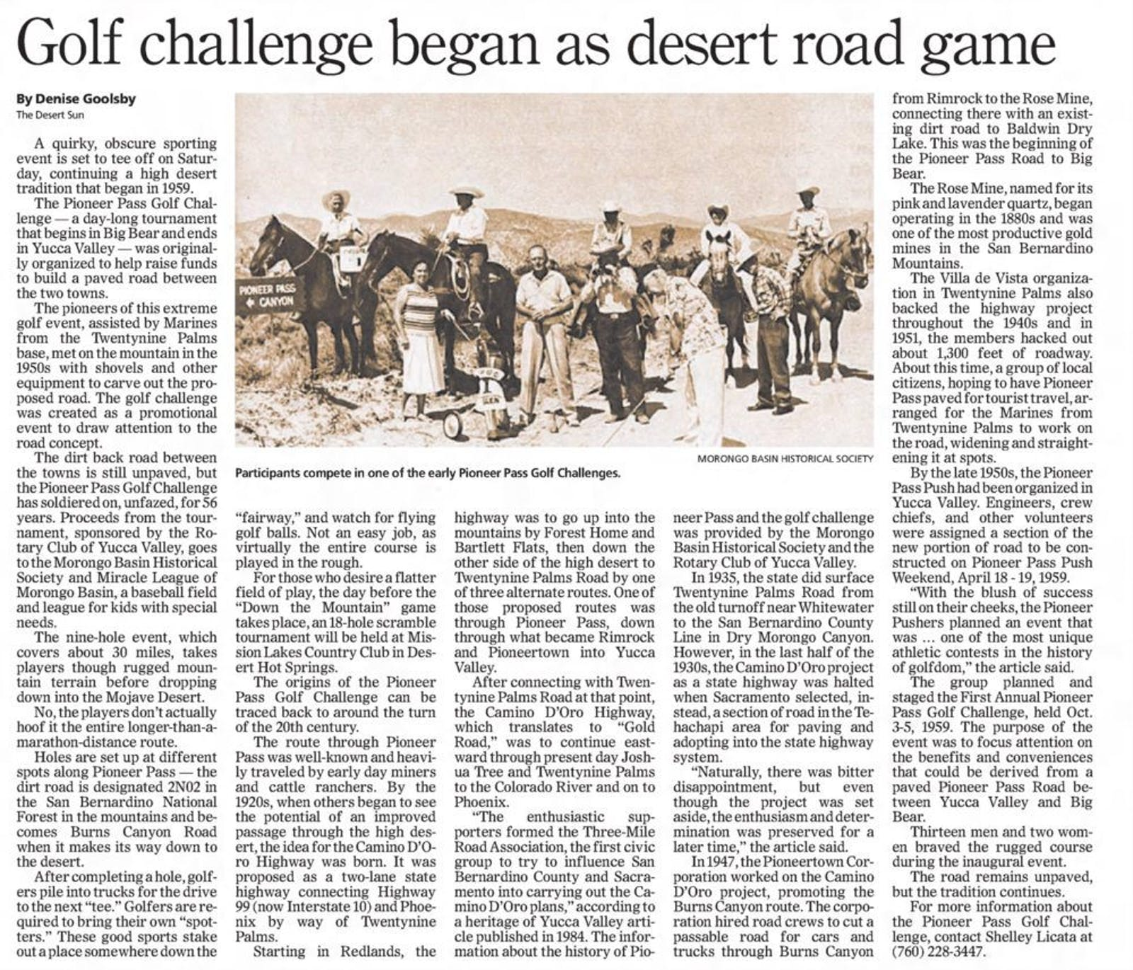 Golf challenge began as desert road game article clipping