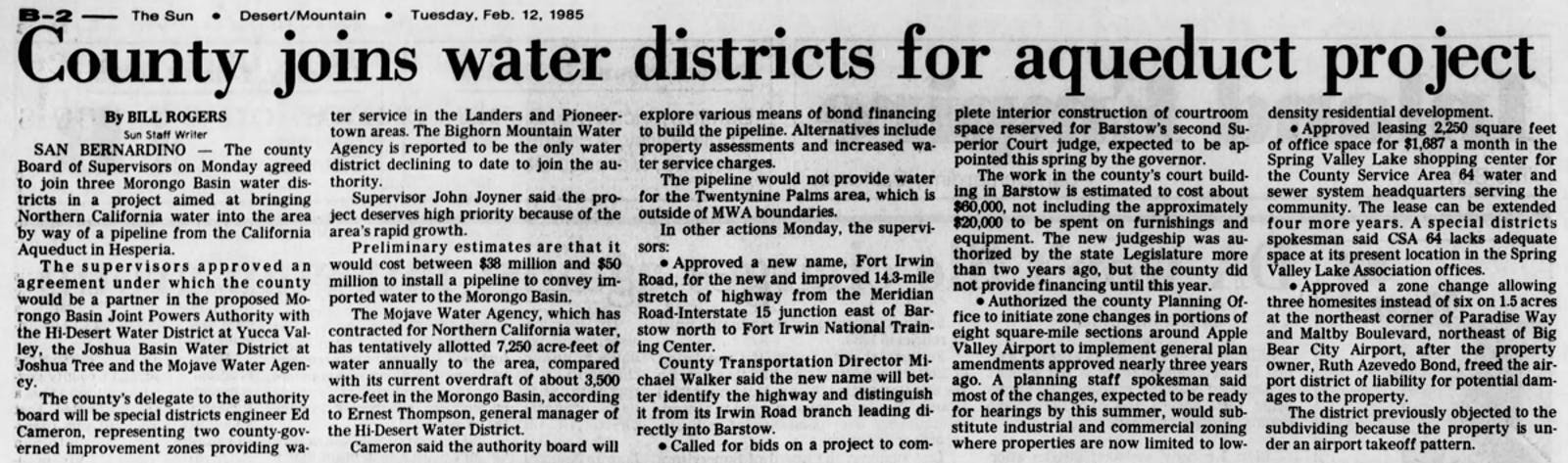 water district project article clipping