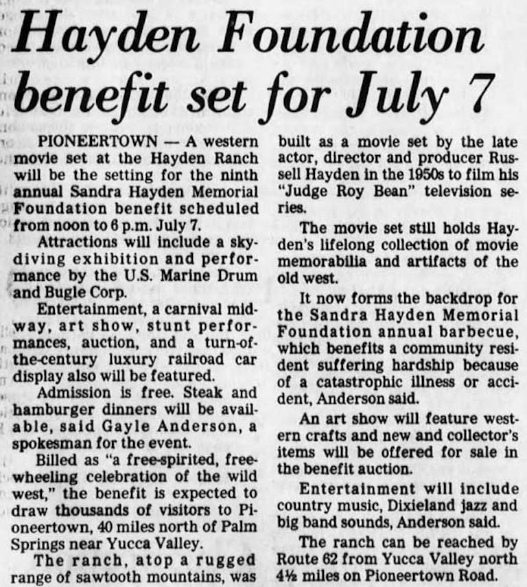 1985 Hayden Foundation Benefit article clipping