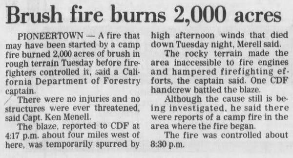 May 6 1984 - Brush fire burn 2000 acres clipping