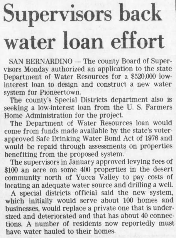 supervisors back water loan effort article clipping