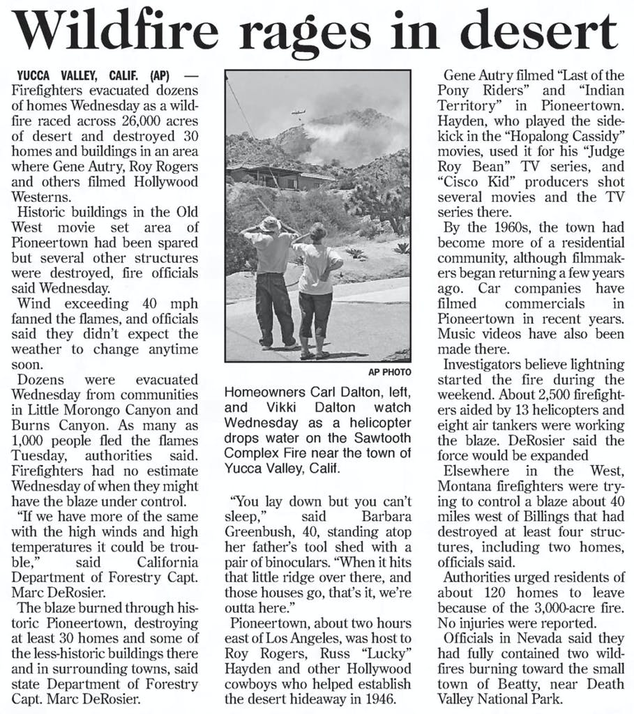 Wildfire- July 13, 2006 - The Star Democrat clipping
