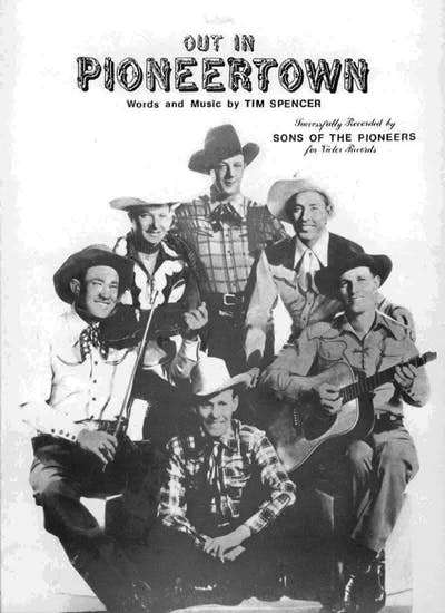 """""""Out in Pioneertown"""" sheet music cover"""