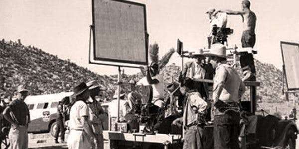 Film Crew image. links to news articles about filming in Pioneertown.