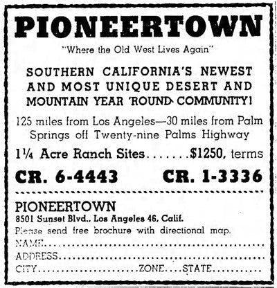 Pioneertown Corp Advertisement