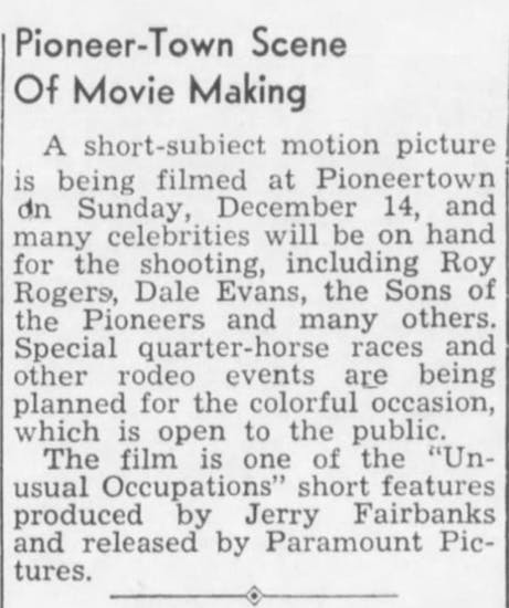 Dec. 12, 1947 - The Desert Sun article clipping