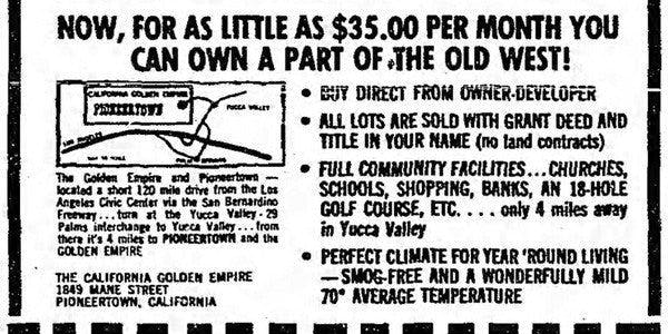 Land sale advertising image image. links to newspaper advertisements from Pioneertown.