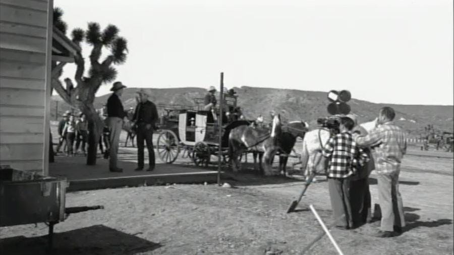 Filming outside the Pioneertown Gazette